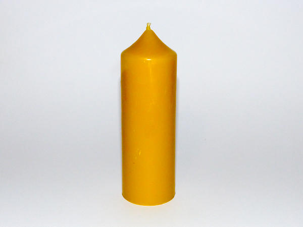 Solid Beeswax Medium 'Church' Style Pillar Candle - Natural