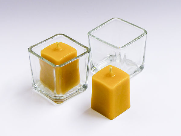 Small Square Candle-holder & Solid Beeswax Candle x 2