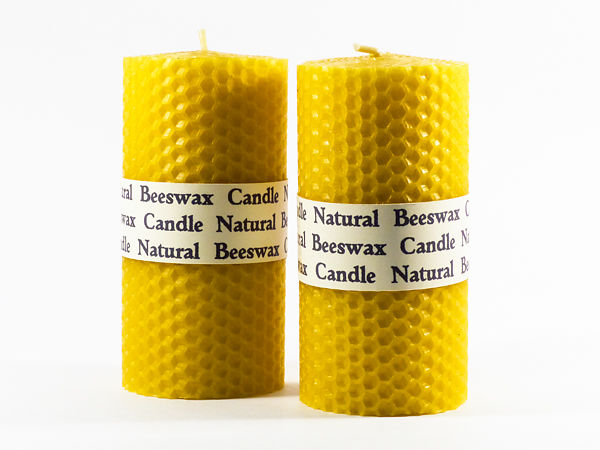 Rolled Beeswax Pillar Candle (Size 6) x 1 - Natural