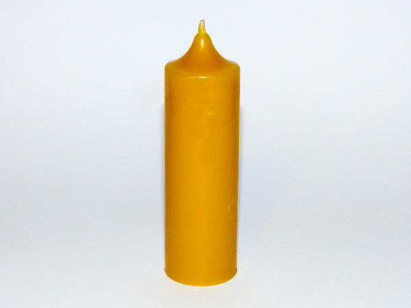 Solid Beeswax Small 'Church' Style Pillar Candle - Natural