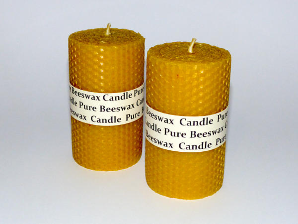 Rolled Beeswax Pillar Candle (Size 8) x 1 - Natural