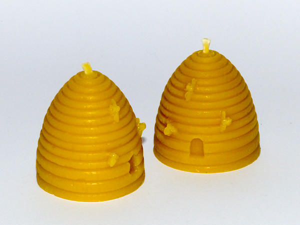 2 Solid Cast 'Skep' Beeswax Candles