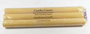 Solid Straight Beeswax TALL Dinner Candles x 3