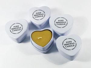 Mini Heart Tin Beeswax Candles x 5
